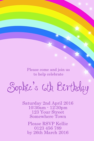 Rainbow purple star personalised birthday party invitations