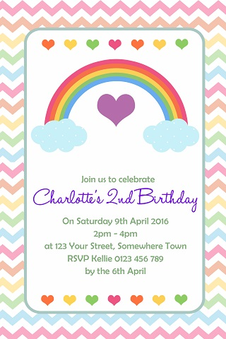 Rainbow pastel heart personalised birthday party invitations