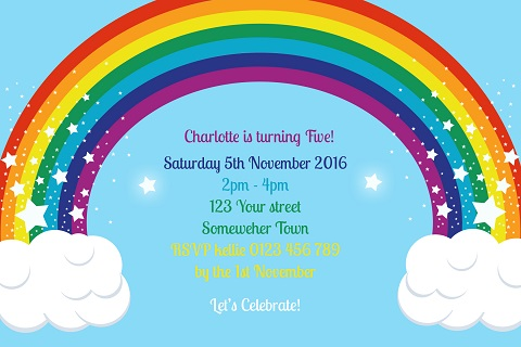 Rainbow personalised birthday party invitations