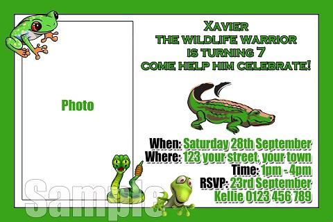 Reptile frog crocodile personalised invitations