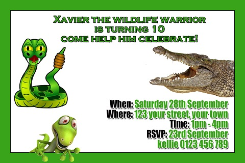 Reptile snake crocodile personalised invitations