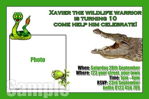 Reptile crocodile personalised invitations