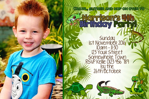 Reptile personalised invitations with photo