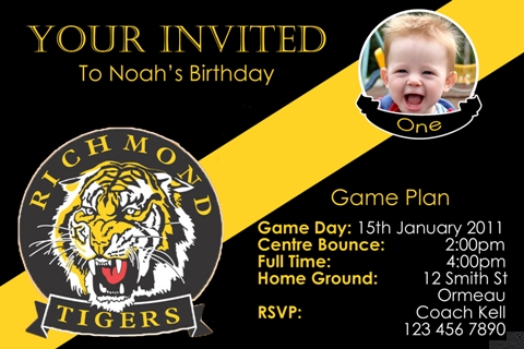 Richmond AFL personalised invitation