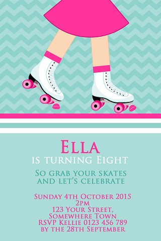 girl skating Roller Skate birthday party invitations