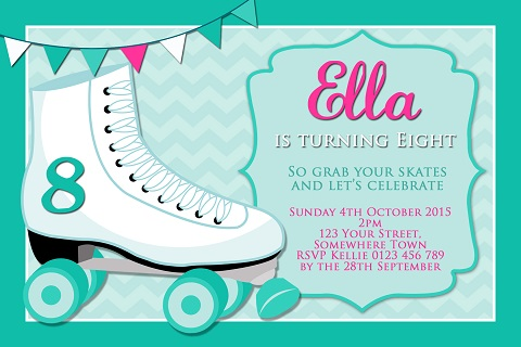 girls mint pink Roller Skating birthday party invitations