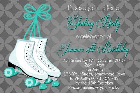girls mint white Roller Skating birthday party invitations