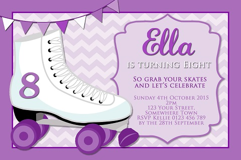 girls purple Roller Skating personalised invitations