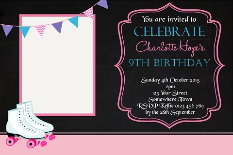 girls pink Roller Skating personalised birthday party invitations