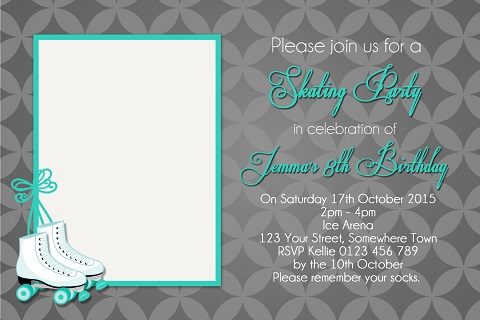 girls mint Roller Skating personalised birthday party invitations