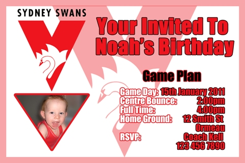 Swans AFL personalised invitation