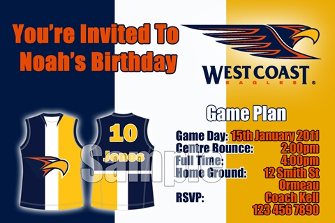 West Coast Eagles AFL personalised invitation
