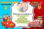 Wiggles and Cars 1 personalised invitation