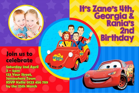 Wiggles and Cars 2 personalised invitation