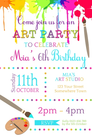 Art paint craft birthday party invitation
