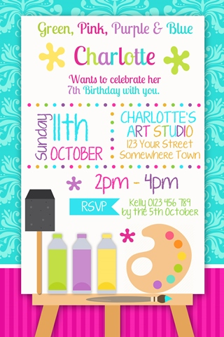 Art colourful painting craft birthday party invitation