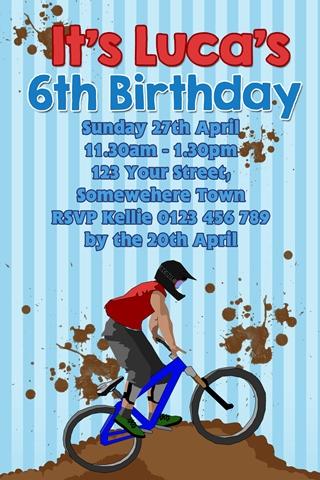 boys BMX birthday party invitation