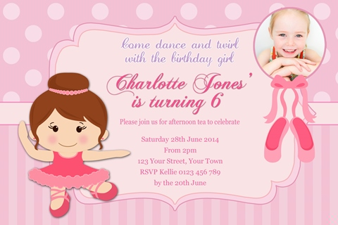 Brown hair girl ballerina ballet birthday party invitation