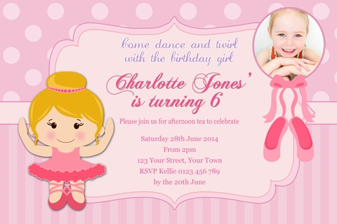 Ballerrina blonde girl birthday party invitation