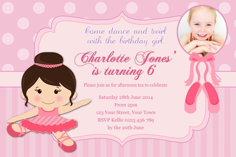girls Ballerina birthday party invitation