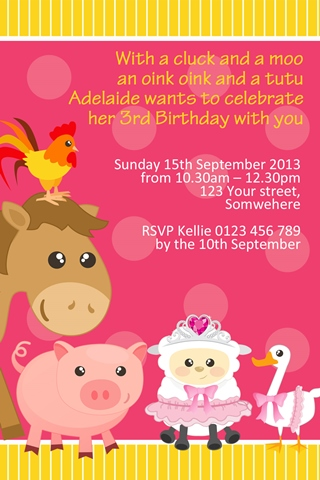 Ballerina Farm Animals tiara girls birthday party invitation