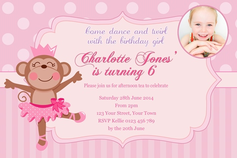 Ballerina ballet polka dot Monkey birthday party invite