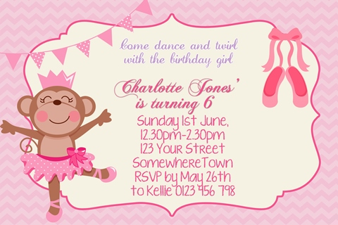 girls Ballerina Monkey ballet birthday party invitation