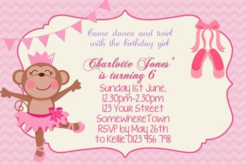 girls Ballerina Monkey ballet birthday party invitation