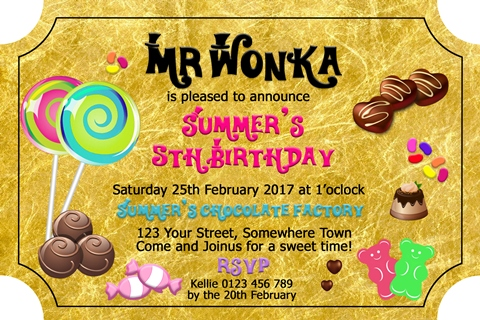 Charlie and the Chocolate Factory, willy wonka invitation