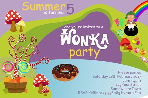 willy wonka Charlie and the Chocolate Factory birthday party invitation