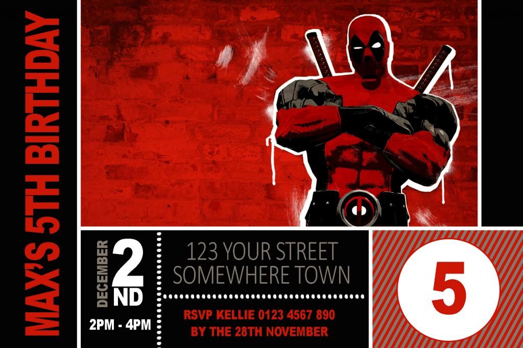 Deadpool birthday party invitation