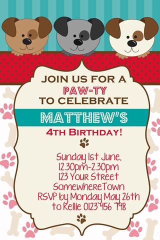 cute puppy dog invitations