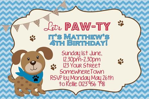 cute puppy dog invite