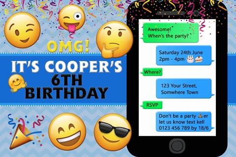 Boys Emoji birthday party invitation