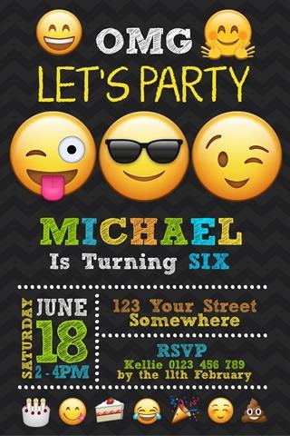 Emoji birthday party invite