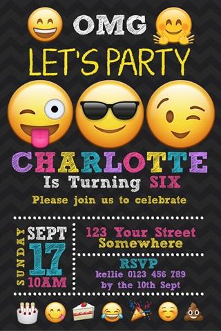 Girls emoji birthday party invitation