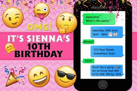 Girls emoji birthday party invite