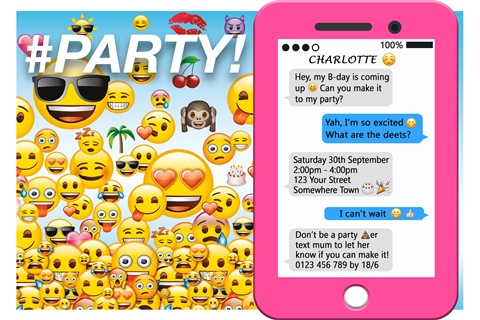 personalised emoji birthday girl boy party invite and invitation