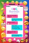 personalised emoji birthday girl boy party invite and invitation