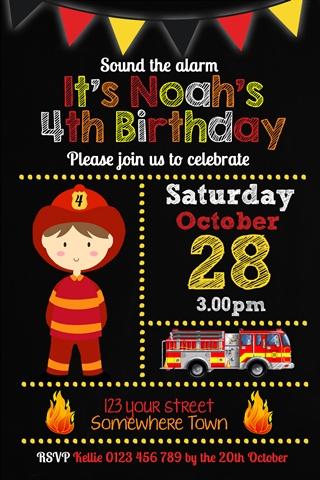 fireman firemen invitation