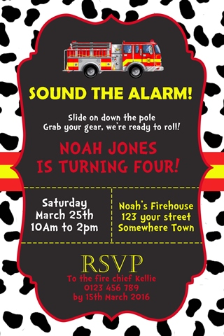 fire truck invitation