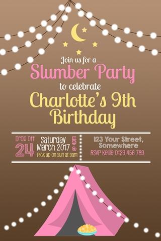 girls Glamping tent birthday party invitation, tent invite