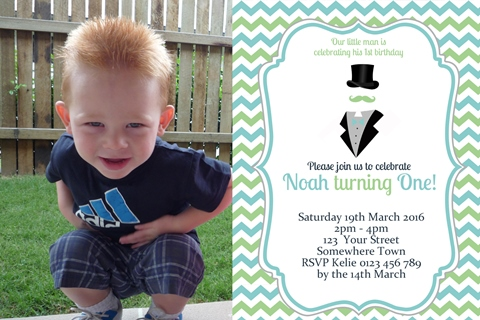 cute Little Man Invitation first 2nd birthday party invitation