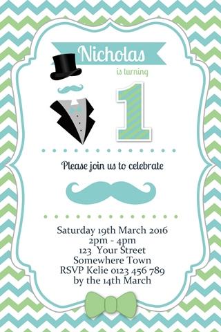 Little Man Invitation green blue mustache bow tie invitation