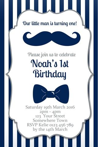 Little Man Invitation first birthday party invitation