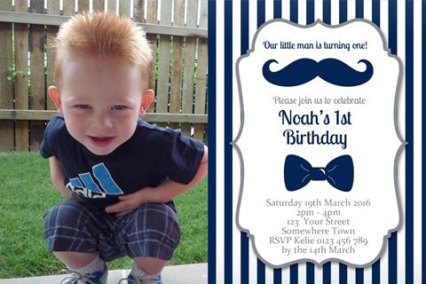 Little Man Invitation navy first 1st birthday party invitation