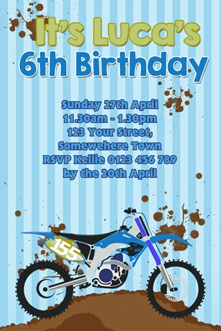 boys Motorcross birthday party invitation