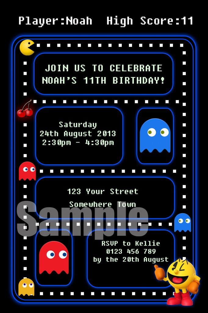 retro Pacman game birthday party invitation