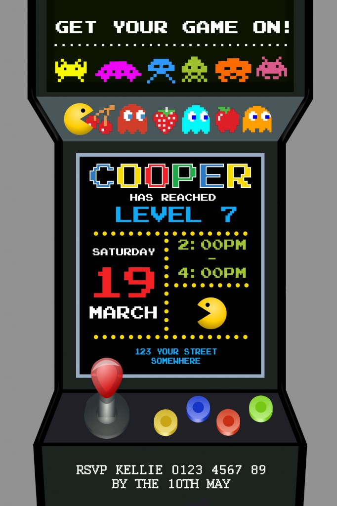 Pacman gamer boys party birthday invitation