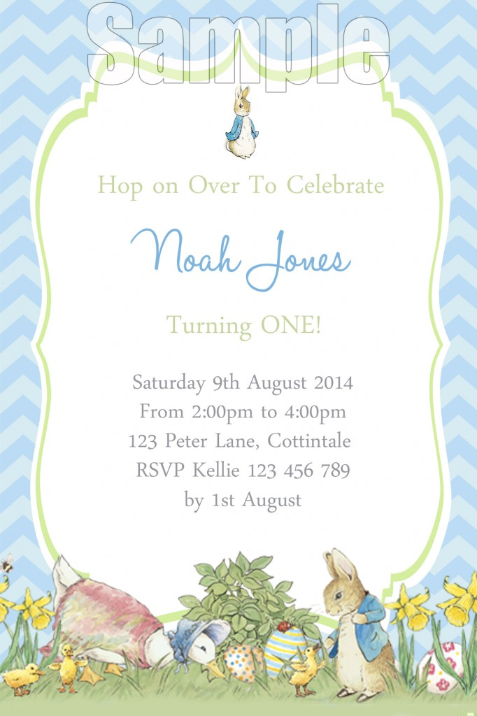 Boys Peter Rabbit 1st first birthday party invitation